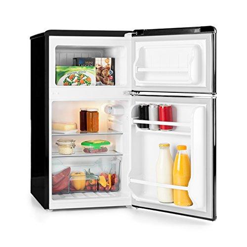 Klarstein Monroe Noir - Réfrigérateur avec congélateur - Rétro - Réfrigérateur 61 l - Congélateur 24 l - 2 tablettes en verre - 2 tablettes à Las Puertas - 5 Niveaux de refroidissement - 40 dB - Noir
