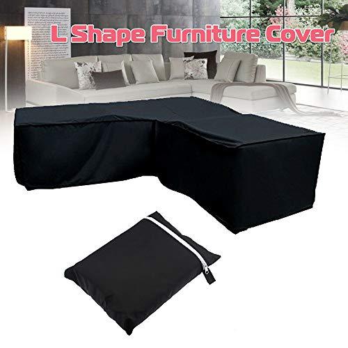 MOSUNA Coffrets de mobilier de jardin, 210D Tissu anti-poussière Oxford Tissu imperméable à l'eau Canapé anti-UV Housse de protection de canapé en L, pour terrasse extérieure intérieure (270 * 270 * 270 * 90CM)