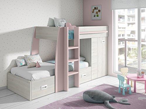 Mobelcenter - Train des enfants de la litière - Fini en blanc nordique et rose nuageux - (0844)