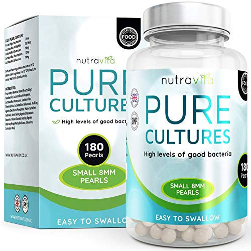 Probiotic 180 Capsules pour 6 mois | Inclut Lactobacilles et Bifidobactéries | Capsules à libération tardive sans OGM | Fabriquées au Royaume-Uni par Nutravita