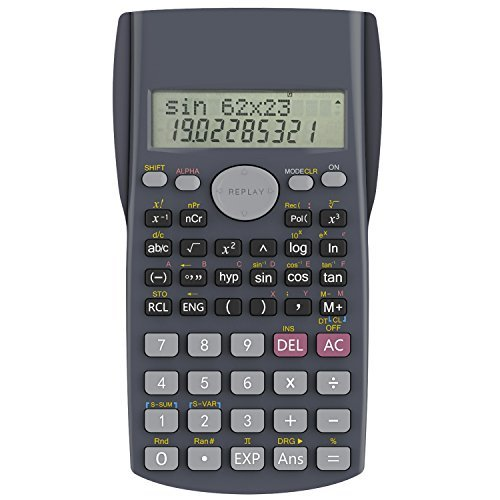Helect H-1002- Calculatrice scientifique, 2 lignes, gris