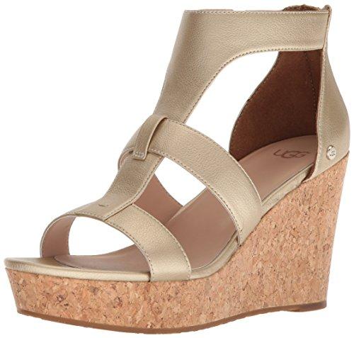 UGGG - Sandale Femme Whitney métallisée à talon compensé, or, 6.5 M US