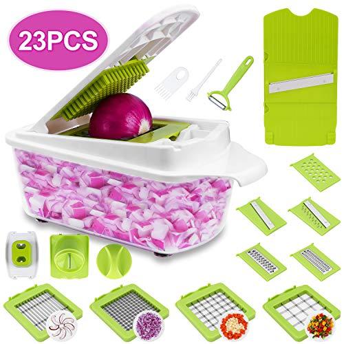 Sedhoom 23 pièces Coupe-légumes multifonctions Cuisine Coupe-légumes Coupe-légumes Coupe-légumes Mandoline Couteau à spirale Râpe à râper Râpe en acier inoxydable, éplucheur