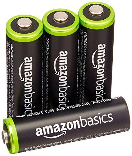 AmazonBasics - Lot de 4 piles rechargeables AA Ni-MH (préchargées, 1000 cycles, 2000 mAh/minimum 1900 mAh) - Le couvercle extérieur peut varier.