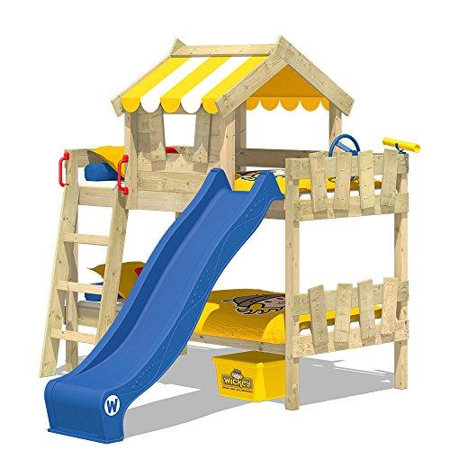 WICKEY Litera CrAzY Circus Cradle Lit superposé avec toboggan, toit et sommier en bois, toile jaune + toboggan bleu