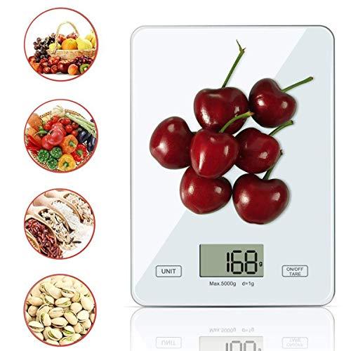 Balance de cuisine Zeuste Kitchen-Balance Kitchen, Poids Cuisine numérique pour cuisine en acier inoxydable 5 kg/1g, rétro-éclairage LCD, Balance multifonctionnelle pour aliments, piles incluses (blanc)