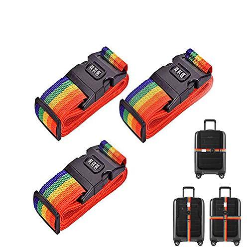S&G 3 pièces sangles réglables pour bagages, ceinture de sécurité pour les bagages avec serrure à combinaison, ceinture de sécurité pour bagages sangles de bagage pour faciliter la reconnaissance des bagages