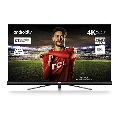 TCL 65DC762 65 pouces Smart TV avec 4K UHD, HDR, large gamme de couleurs, Android TV et JBL Harmon Kardon, fini titane brossé