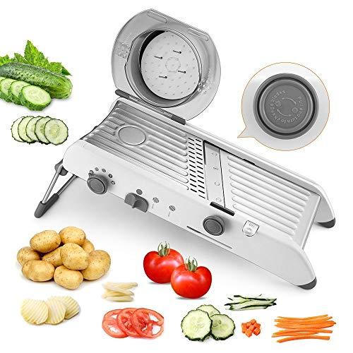 PAVLIT Mandoline Cuisine professionnelle, coupes multiples par sélecteur manuel, acier inoxydable fruits et légumes Mandoline, pied antidérapant, protecteur de doigts.