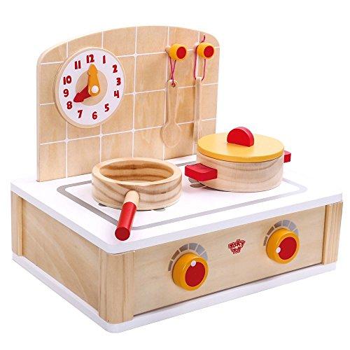 Jouet Tooky - Petite kitchenette en bois avec casserole et poêle à frire - Jouets éducatifs à partir de 3 ans