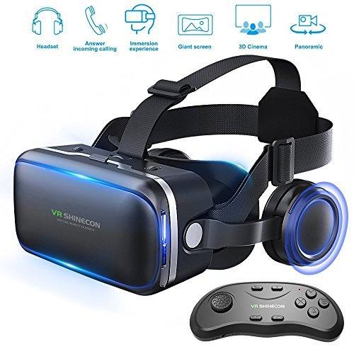 Lunettes de réalité virtuelle 3D avec casque d'écoute pour jeux de réalité virtuelle et films en 3D de Honggu Shinecon, pack télécommande