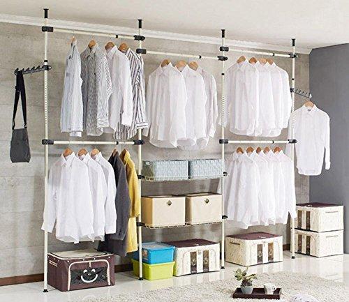 Yosoo Heavy Duty Steel Clothing Lane, cadre de vêtement réglable en hauteur 246-320cm