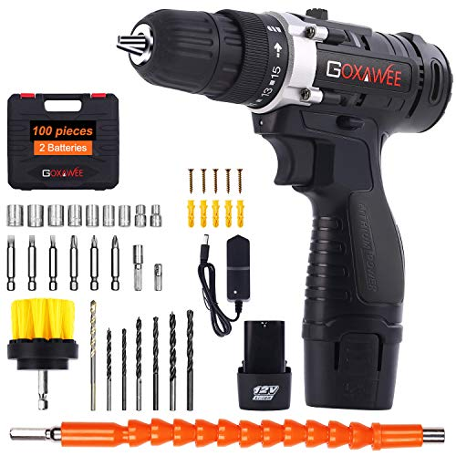 Tournevis perceuse 12V, GOXAWEE 100Pcs Electric Drill / Kit tournevis électrique (2 piles lithium 1500mAh, 30N.m couple maxi, 2 vitesses, mandrin de perçage automatique 10mm)