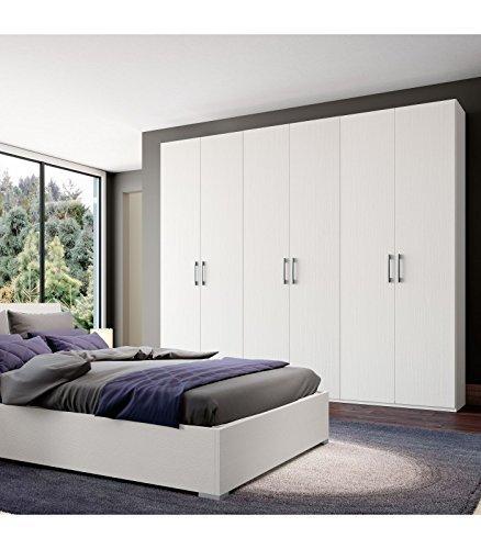 Armoire srls InHouse Armoire 6 portes en bois, rayé blanc, 240x53 236H