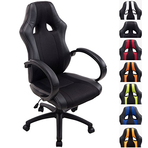 CLP Racing Vettel Chair in Synthetic Leather & Net Fabric I Chair Gamer Ergonomic & Backrest I Office Chair with Wheels I Coloris : Noir/Black