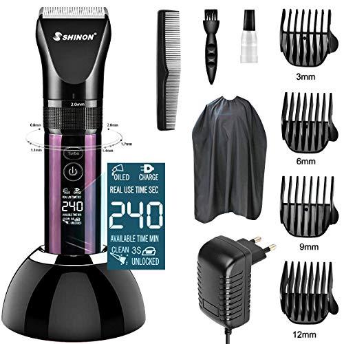 Advanced Ceramic - Tondeuse à cheveux professionnelle coupe-cheveux homme, TTMOW Batterie lithium 2200mah - Charge rapide, lames en céramique, écran LED rechargeable, réglable avec 4 peignes
