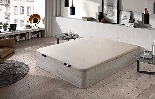 HOME24 ES Canapé pliant en bois Canapé grande capacité avec couvercle 3D et soupapes de transpiration, avec coins en bois massif, couleur Chêne Cambrien, 135X190cm