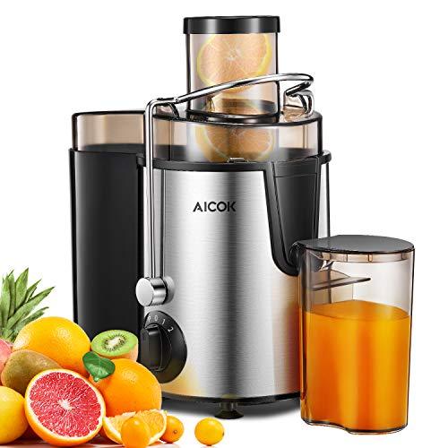 Presse-fruits et légumes en acier inoxydable, presse-fruits et légumes, presse-fruits Aicok et extracteur de jus centrifuge à large ouverture de 65 mm, 3 vitesses, sans BPA.