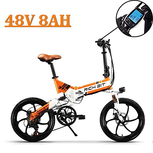 eBike_RICHBIT 730 Vélos électriques Vélo pliable Ville de la banlieue 250W 48V 8AH pour hommes ou femmes (Orange)