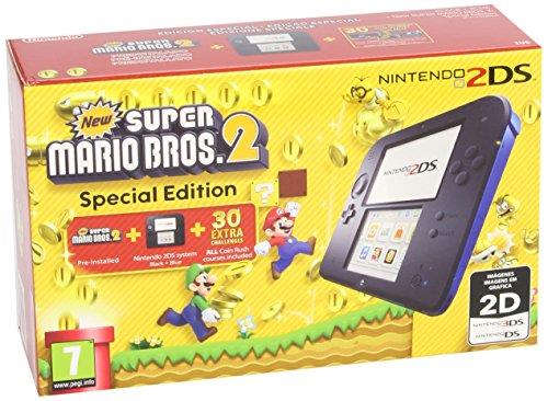 Nintendo 2DS - Console, Color Blue + New Super Mario Bros 2 (préinstallé)
