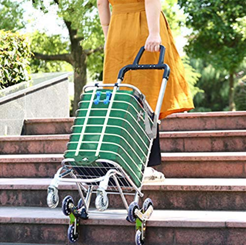 Chariot d'épicerie pliable et pliable Arkmiido Chariot d'épicerie utilitaire portatif Chariot d'escalade à échelle légère avec roues pivotantes et pochette amovible en toile imperméable (vert)