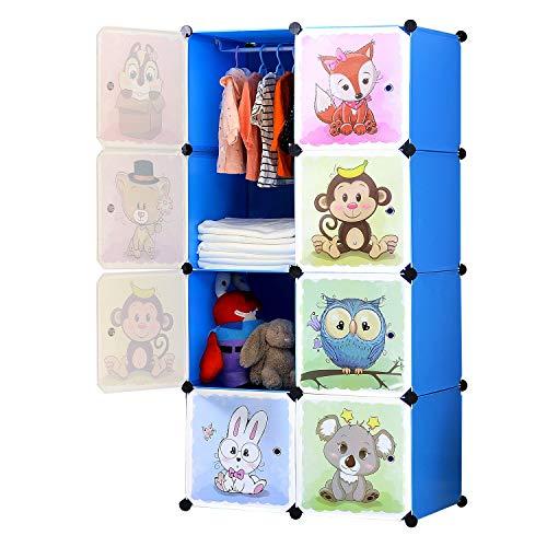 BRIAN & DANY Armoire modulaire à portes pour enfants avec motifs animaux Tablettes par modules Armoire de rangement, bleu, 75 x 47 x 147 cm