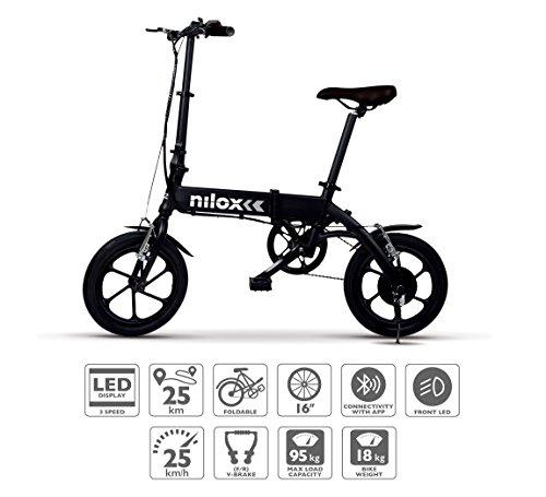 Nilox ebike X2 Plus Roues pliantes 16' ; Adultes, unisexes, électriques, noires