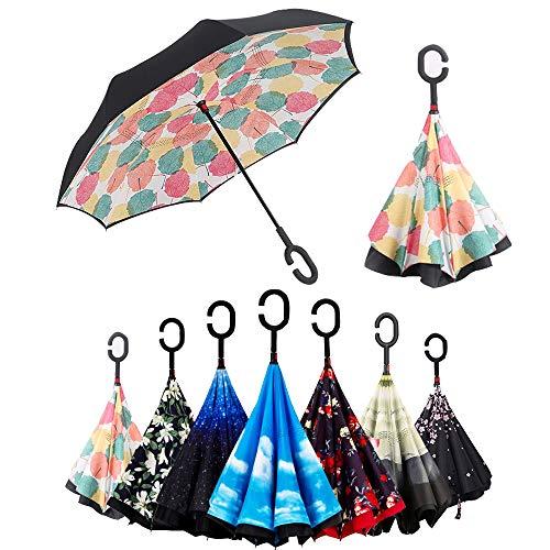 Parapluie inversé, parapluie pliable, réversible, avec protection UV, avec poignée en C inversée. Parapluie double couche coupe-vent (106 cm) (Foglia di Acero)
