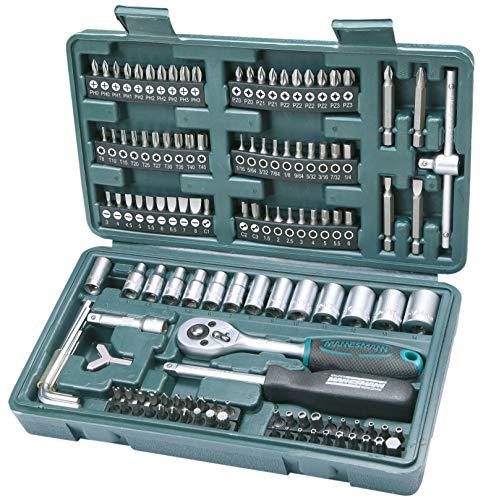 Mannesmann M29166 - Porte-documents avec jeu de clés à douille et embouts de tournevis (130 pièces)