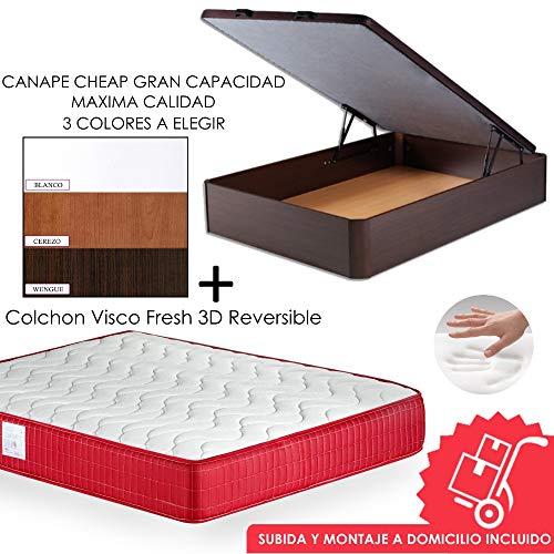MICAMAMELLAMA Pack Canapé + Matelas Viscoélastique Viscoélastique VISCO Confort Frais 3D Réversible - Montage Inclus (Cerise, 135x190)