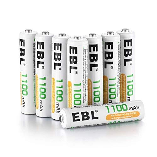 EBL 1100mAh AAA Ni-MH 1200 cycle de batterie rechargeable pour équipement domestique avec étuis de rangement (8 pièces)