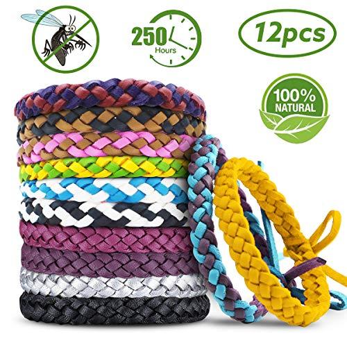 Bracelet Anti-moustiques Bracelet Anti-moustiques Bracelet Anti-moustiques Bracelet Anti-moustiques, 100% d'extraits de plantes naturelles pour bébés, enfants et adultes (12 pièces)