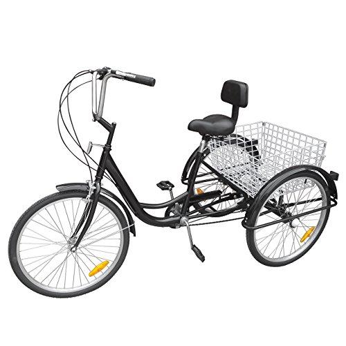 Ridgeyard Adult Tricycle 24' 6 vitesses 3 roues adulte avec Panier(Noir)