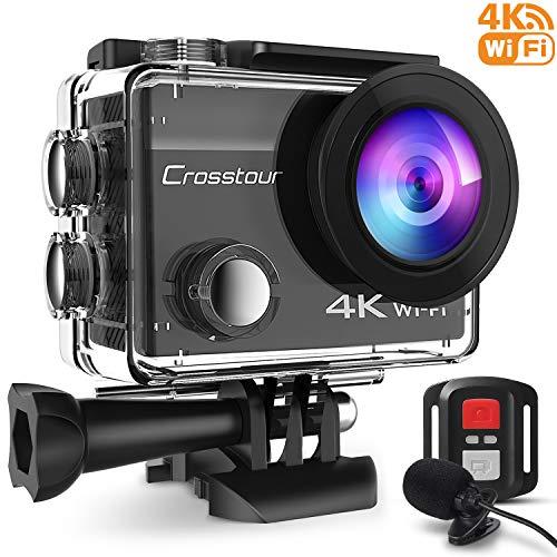 Crosstour Sports Camera 4k 16mp WiFi 16mp WiFi Water Action Camera 40m eau avec microphone externe et 2 piles rechargeables anti-vibration laps de temps et de multiples accessoires Kit.
