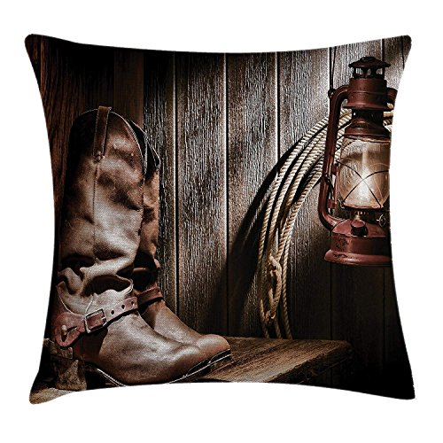 Housse d'oreiller Western Decor Throw, Dallas Cowboys and Lantern on a Bench in Vintage Ranch Nostalgic Folkloric Print, Taie d'oreiller décorative carrée Accent, marron 16x16inch