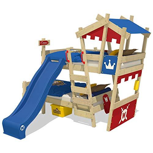 WICKEY Litera CrAzY Castle Lit double enfant 90x200 Lit surélevé avec toboggan, échelle, toit et sommier, rouge-bleu + toboggan bleu