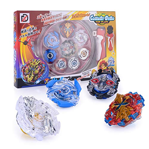 Gyro Metal Sets Spinning Fusion 4D, Spinning Tops 4 Pcs Gyro Master Struggle Chain Launcher avec Stadium Infinity Swim Basic Duels Gyro Sets