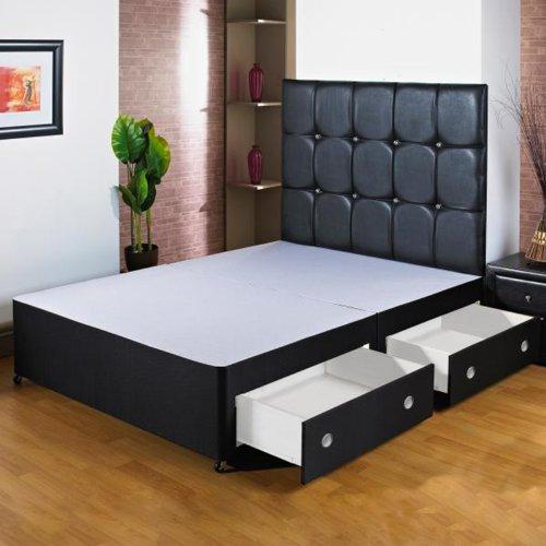 Hf4You 152,4 cm Grand lit noir avec divan-lit - 4 tiroirs - sans lit de tête de lit