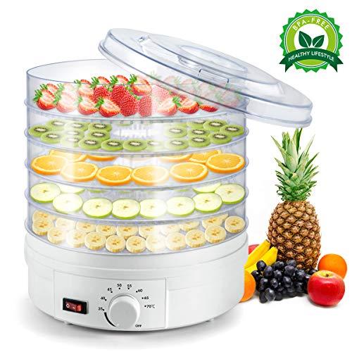 Déshydrateur d'aliments Sunix, Déshydrateur de fruits 5 plateaux, Thermostat ajustable portatif, blanc, sans BPA, pour viandes séchées, fruits, légumes et plus encore