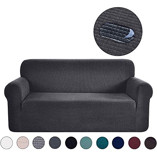 Housse de canapé Ramotto Matière élastique Jacquard Polyester Protecteur pour canapé Pet Quilted House (Gris, 2 Plaza)