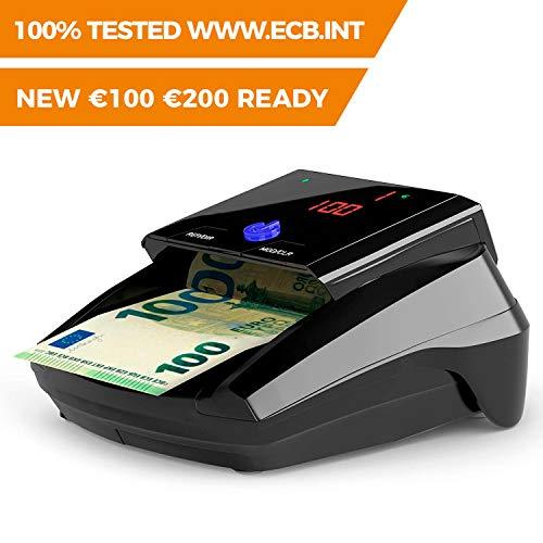 Détecteur de faux billets Detectalia D7 avec 7 méthodes de détection et 100% de fiabilité dans les tests officiels de la Banque Centrale Européenne. N'a pas besoin d'être mis à jour pour la devise €.