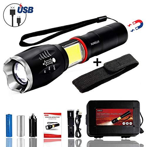 Aukelly lampe de poche étanche à LED avec batterie rechargeable, avec 5 modes, lampe de poche rechargeable à LED, étanche IP65, parfait pour le cyclisme, camping, alpinisme.