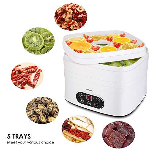 Déshydrateur MVPOWER avec 5 plateaux et écran LCD, thermostat réglable de 35 à 70 ºC et minuterie avec arrêt automatique à 72h, fruits, légumes, sans BPA.