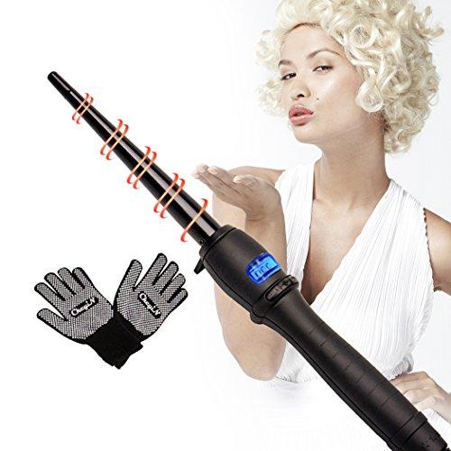 Cheyin Hair Curling Hair Professional Beauty Hair Molder Ceramic Hair Tourmaline avec câble tournant à 360 °C et écran LCD Cone Hair Curling Hair Curling Hair Wand Rollers (9-19mm) + deux gants