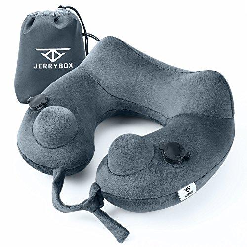 Oreiller de voyage Jerrybox, gris | Oreiller cervical, oreiller gonflable à deux airbags, surface en velours doux lavable et respirant, support pour le cou et les vertèbres cervicales