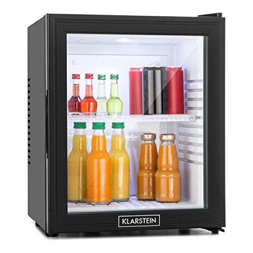 Klarstein MKS-13 - Minibar - Mini réfrigérateur - Réfrigérateur pour boissons - Classe A - 32 litres - Basse consommation - Très silencieux - 1 tablette - Hauteur réglable - Porte en verre - Extérieur noir mat - Noir