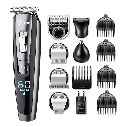 Hatteker Electric Barber Tondeuse à cheveux professionnelle Hatteker Tondeuse à cheveux pour homme Tondeuse à cheveux Tondeuse à cheveux rechargeable Tondeuse à barbe et imperméable de précision 5 en 1