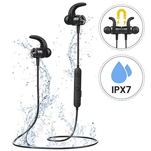 Mpow S10 Casque d'écoute Bluetooth, IPX7 Wireless Magnetic In Ear Intégré Haute Fidélité Stéréo CVC 6.0 CVC 6.0 Microphone antibruit pour le sport, la gym, Voyage pour iPhone Android