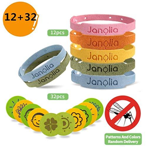 Janolia Anti-moustiques, 12 Bracelets Anti-moustiques & 32 Autocollants Anti-moustiques, Set Insectifuge, ajustable pour enfants et adultes.