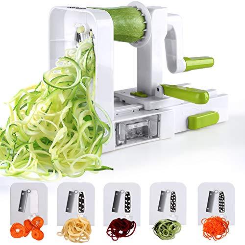 Sedhoom Coupe-légumes à 5 lames, Spiraliseur de légumes pliés en spirale, Juliana, Spaghetti, Tagliatelle, Rubans ou nouilles.